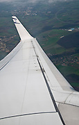 The view through El Al commercial flighty The Israeli flag on the wing tip