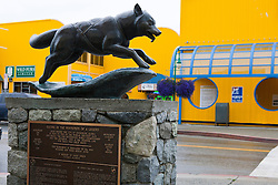 Statue of a mushing dog marking the starting line of the Iditarod and Fur Rendezous World Championship dogsled races, 4th Avenue, downtown Anchorage, Alaska, United States of America