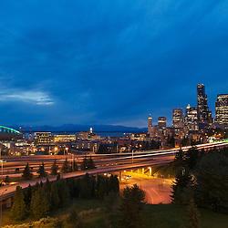 Evening view of highways and skyline. Seattle, Washington