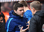 Tottenham Hotspur manager Mauricio Pochettino talking to the fourth official before the Premier League match between Bournemouth and Tottenham Hotspur at the Vitality Stadium, Bournemouth, England on 11 March 2018. Picture by Graham Hunt.