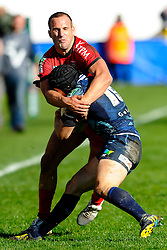 Toulon Scrum-Half (#9) Frederic Michalak tackles Cardiff Full Back (#15) Leigh Halfpenny during the second half of the match - Photo mandatory by-line: Rogan Thomson/JMP - Tel: Mobile: 07966 386802 21/10/2012 - SPORT - RUGBY - Cardiff Arms Park - Cardiff. Cardiff Blues v Toulon (RC Toulonnais) - Heineken Cup Round 2
