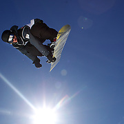 Nathan Johnstone, Australia, in action during the Men's Half Pipe Finals in the LG Snowboard FIS World Cup, during the Winter Games at Cardrona, Wanaka, New Zealand, 28th August 2011. Photo Tim Clayton...