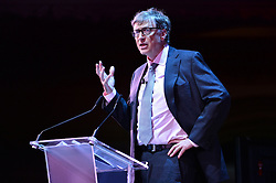 "© Licensed to London News Pictures. 26/10/2016.  BILL GATES makes a keynote speech at the Joint Session Grand Challenges and Keystone Symposia ""Translational Vaccinology in Global Health"" conferences, October 26, 2016, London, UK.""<br />