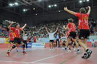 Volleyball  1. Bundesliga  2008/2009    27.12.2008 ENBW TV Rottenburg  1-3  VfB Friedrichshafen JUBEL TV Rottenburg, Thomas Welz, Willy Belizer, Benny Stefanski und Stefan Schneider (v.li.)
