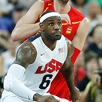 12 August 2012: USA LeBron James defends on Spain Pau Gasol during 107-100 Team USA victory over Team Spain, during the men's Gold Medal Game, at the North Greenwich Arena, in London, Great Britain.