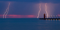 "Multiple lightning strikes captured of the South Haven lighthouse.  This image is natively a 10x20"" panoramic print and is recommended for metallic paper."