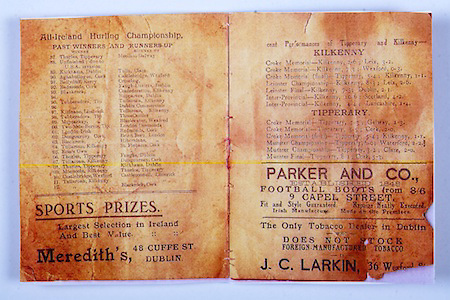 All Ireland Senior Hurling Championship Final,.02.11.1913, 11.02.1913, 2nd November 1913,.Tipperary 1-2,, Kilkenny 2-4,.Senior Tipperary v Kilkenny, .Jones's Road Dublin, ..Articles, List of All Ireland Hurling Championship Past Winners and Runners-Up 1887-1912, Performances of Kilkenny and Tipperary, ..Advertisements, Meredith's Sport Prizes, Parker and Co. Football Boots, J.C. Larkin Tobacco Dealer, .