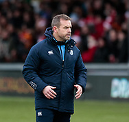 Cardiff Blues' Head Coach Danny Wilson during the pre match warm up<br /> <br /> Photographer Simon King/Replay Images<br /> <br /> Guinness Pro14 Round 11 - Dragons v Cardiff Blues - Tuesday 26th December 2017 - Rodney Parade - Newport<br /> <br /> World Copyright &copy; 2017 Replay Images. All rights reserved. info@replayimages.co.uk - www.replayimages.co.uk