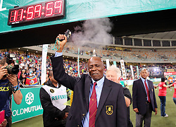 10062018 (Durban) Athletic SA CEO cuting the finnish line at the Mosses Mabhida stadium venue during the Comrades Marathon on Sunday as Bong'musa Mthembu and Ann Ashworth ensured that the coveted titles remained on these shores.<br /> Picture: Motshwari Mofokeng/African News Agency/ANA