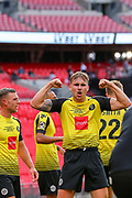 GOAL 3 -1 Harrogate Town striker Jack Diamond (23) celebrates after scoring during the Vanarama National League Promotion Final match between Harrogate Town and Notts County at Wembley Stadium, London, England on 2 August 2020.