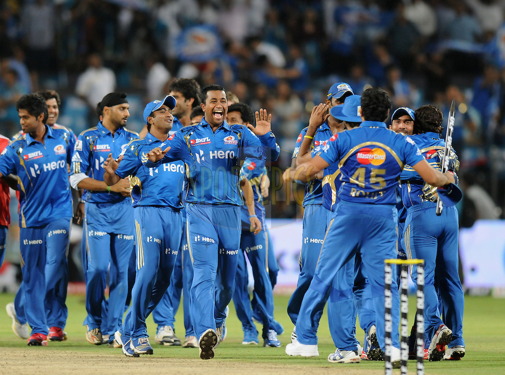 Pragyan Ojha of Mumbai Indians  celebrate as they win the match45 of the Indian Premier League ( IPL) 2012  between The Pune Warriors India and the Mumbai Indians held at the Subrata Roy Sahara Stadium, Pune on the 3rd May 2012..Photo by Pal Pillai/IPL/SPORTZPICS