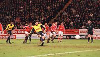 Nelson Vivas has his penalty saved by Charlton goalkeeper Dean Kiely. Chartlon Athletic 1:0 Arsenal, FA Carling Premiership, 1/1/2001. Credit Colorsport / Stuart MacFarlane.