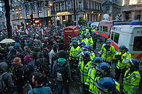 Riot police  kettling students during Education cuts demonstration