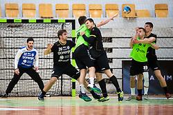 Tilen Grobelnik of RK Gorenje Velenje and Grega Oklescen of MRK Krka during handball match between RK Gorenje Velenje and MRK Krka in Final of Slovenian Men Handball Cup 2018/19, on Maj 12, 2019 in Novo Mesto, Slovenia. Photo by Grega Valancic / Sportida