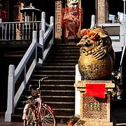 Bicycle in front of Bei Ji Xuan Tian Temple, YanShui Village, Tainan County, Taiwan