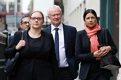 © Licensed to London News Pictures. 24/04/2017. London, UK. L to R Solicitors RUSSELL LEVY (rear), ANNA CROWTHER, MARTYN DAY and SAPNA MALIK arrive at the Solicitors Disciplinary Tribunal in central London where they face disciplinary proceedings following claims by the Ministry of Defence that Leigh Day solicitors took part in ambulance-chasing over false compensation claims for the torture of Iraqi citizens. Photo credit: Peter Macdiarmid/LNP
