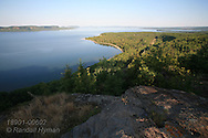 Panoramic view from Highway 17 rest area overlooks Nipigon Bay, northernmost extent of Lake Superior; Ontario; Canada.