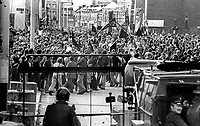 The Silver Jubilee visit of Queen Elizabeth II to N Ireland on 10th & 11th August 1977 sparked serious rioting in Belfast as those opposed to the visit tried to reach the city centre. Soldiers and police hold back protesters.   197708100074n<br />