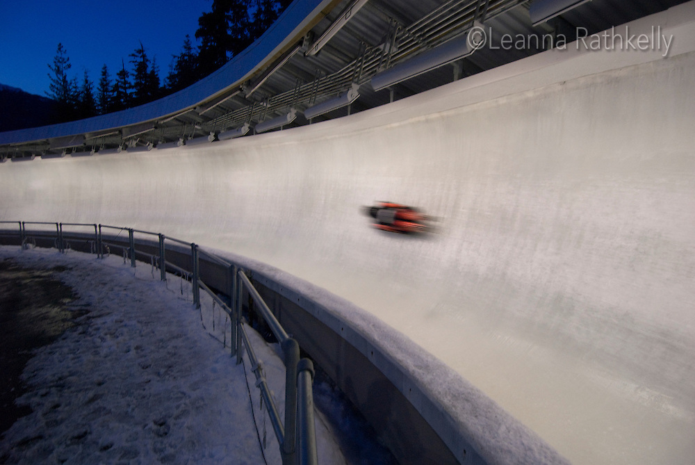 Womens' Skeleton race at Whistler Sliding Centre in February, 2009