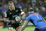 Hurricanes Brad Shields with the ball during the Western Force and Hurricanes game, Super Rugby, NIB Stadium, PERTH, Western Australia. Friday, 27th February, 2015. Photo: Travis Hayto / photosport.co.nz