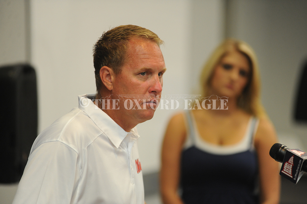 Ole Miss head coach Hugh Freeze speaks during Media Day at the IPF in Oxford, Miss. Friday, August 2, 2013.
