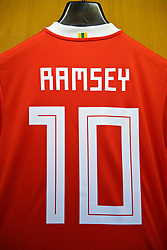 PARIS, FRANCE - Friday, November 10, 2017: The Wales shirt of Aaron Ramsey hanging in the dressing room before the international friendly match between France and Wales at the Stade de France. (Pic by David Rawcliffe/Propaganda)