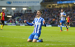 Solly March of Brighton and Hove Albion celebrates after he scores to make it 1-0 - Mandatory byline: Paul Terry/JMP - 28/11/2015 - Football - Falmer Stadium - Brighton, England - Brighton v Birmingham City - Sky Bet Championship