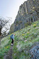 A woman standing on a trail up to The Bend climbing area in Tieton Canyon, Washington, USA.