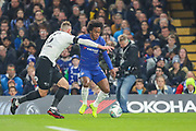 Derby County defender Richard Keogh (6) and Chelsea midfielder Willian (22) during the EFL Cup 4th round match between Chelsea and Derby County at Stamford Bridge, London, England on 31 October 2018.