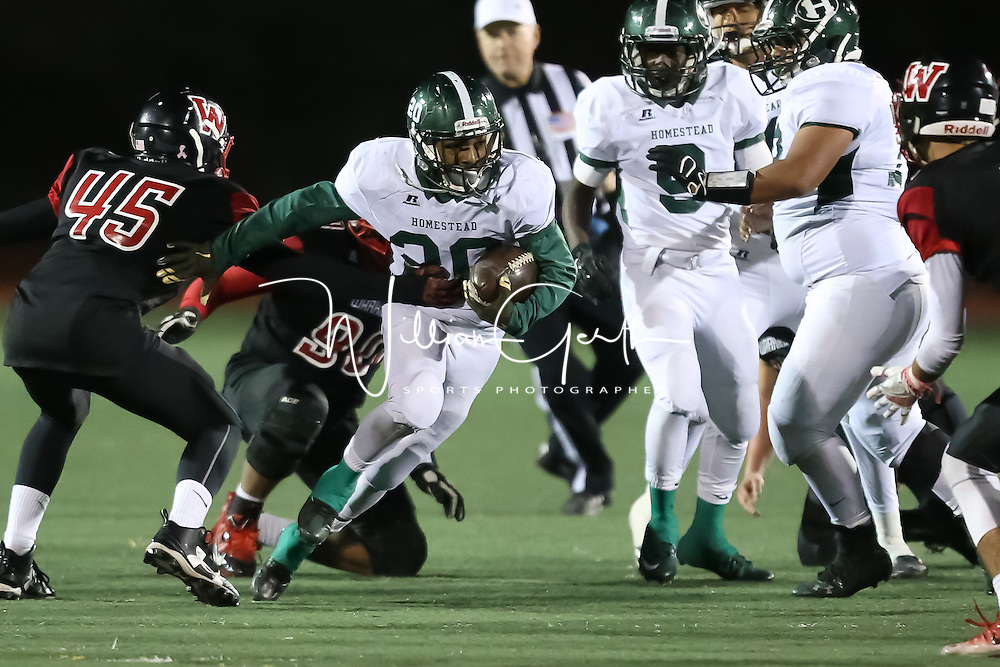 (Photograph by Bill Gerth for SVCN) Homestead #20 Rajah Ward looks for yardage vs Westmont in a CCS Division 4 Semifinal Football Game at Westmont High School, Campbell CA on 11/18/16.  (Westmont 48 Homestead 27)