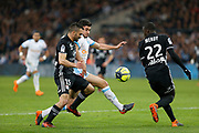 Morgan Sanson of Olympique de Marseille and Jeremy Morel of Olympique Lyonnais during the French Championship Ligue 1 football match between Olympique de Marseille and Olympique Lyonnais on march 18, 2018 at Orange Velodrome stadium in Marseille, France - Photo Philippe Laurenson / ProSportsImages / DPPI