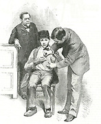 Louis Pasteur (1822-1895) French chemist, looking on as his assistant inoculates Joseph Meister, a shepherd boy who had been bitten by a rabid dog. Engraving from 'Scientific American', New York, 19 December 1885.