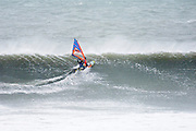 Saturday 8th February 2014: Windsurfing action at The Bluff beach with the Red Bull Storm Chaser riders.<br /> Copyright 2014 Peter Horrell
