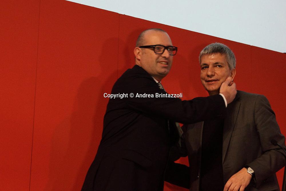 Riccione 25 Gennaio 2014 - 2&deg; Congresso Nazionale Sinistra Ecologia Liberta' - SEL.<br /> Stefano Bonaccini, Nichi Vendola