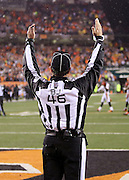 back judge Perry Paganelli (46) raises his arms signaling that Pittsburgh Steelers kicker Chris Boswell (9) was successful in kicking a 35 yard game winning field goal at the end of the fourth quarter during the NFL AFC Wild Card playoff football game against the Cincinnati Bengals on Saturday, Jan. 9, 2016 in Cincinnati. The Steelers won the game 18-16. (©Paul Anthony Spinelli)