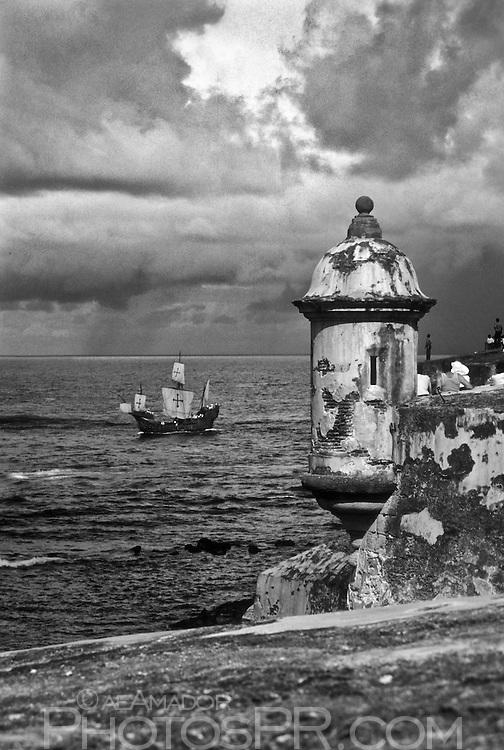 Columbus ship replica entering San Juan harbor for La Gran Regata Colón 1992