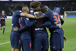 PSG's Neymar joy after scoring the 2-1 penalty shoot during the French First League soccer match, PSG vs Reims in Parc des Princes, France, on September 26th, 2018. PSG won 4-1. Photo by Henri Szwarc/ABACAPRESS.COM