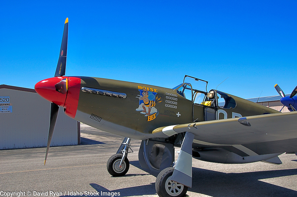 """""""Boise Bee"""", P-51C WW2 fighter at  her debut at Nampa Airport, preparing to take off"""