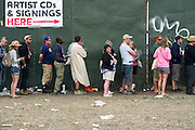 Queuing for CD's and signings. The 2013 Glastonbury Festival, Worthy Farm, Glastonbury. 30 June 2013. © Guy Bell, guy@gbphotos.com, all rights reserved