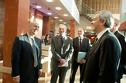 Chris Huhne Secretary of State for Energy and Climate Change visits Casa hotel in Chesterfield to hear about the hotel  buildings energy efficient design and renewable energy with relation to M&E building design..24 February 2011.Images © Paul David Drabble