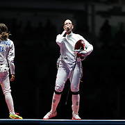 Fencing - Olympics: Day 1  Emese Szasz, (right), Hungary defeating Rossella Fiamingo, Italy, to win the gold medal during the Women's Épée Individual Final at Carioca Arena 3 on August 6, 2016 in Rio de Janeiro, Brazil. (Photo by Tim Clayton/Corbis via Getty Images)