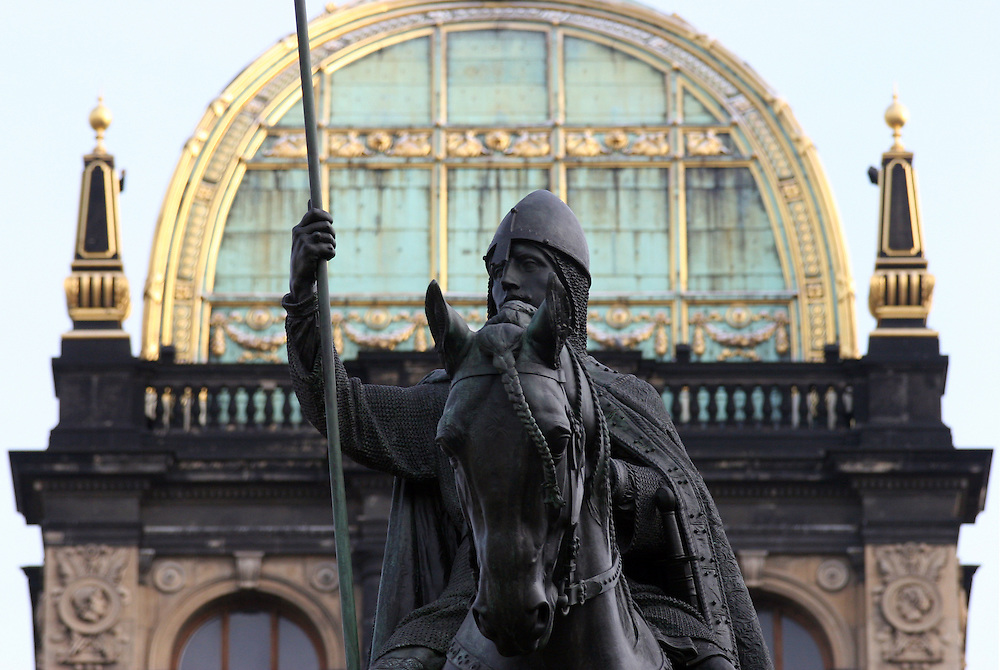 The statue of St. Wenceslas at Wenceslas Square was 1912 made by sculptor Josef Vaclav Myslbek. In the background the National Museum seen from Wenceslas Square.