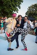 NIMROD KAMER; HENRY HUDSON; PHILIP COLBERT, Serpentine's Summer party co-hosted with Christopher Kane. 15th Serpentine Pavilion designed by Spanish architects Selgascano. Kensington Gardens. London. 2 July 2015.