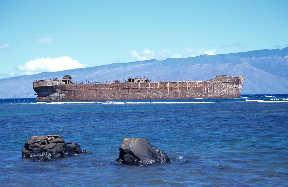WWII Liberty Shipwreck off the coast of Lanai Island, Hawaii, Molokai in distance across Kalohi Channel