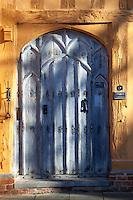 Medieval door to the 15th century Little Hall, Lavenham, Suffolk, UK