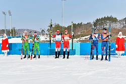 HOLUB Yury BLR B3 Guide: BUDZILOVICH Dzmitry, McKEEVER Brian CAN B3 Guide: NISHIKAWA Graham, CLARION Thomas FRA B1 Guide: BOLLET Antoine competing in the ParaSkiDeFond, Para Nordic Skiing, 20km at  the PyeongChang2018 Winter Paralympic Games, South Korea.