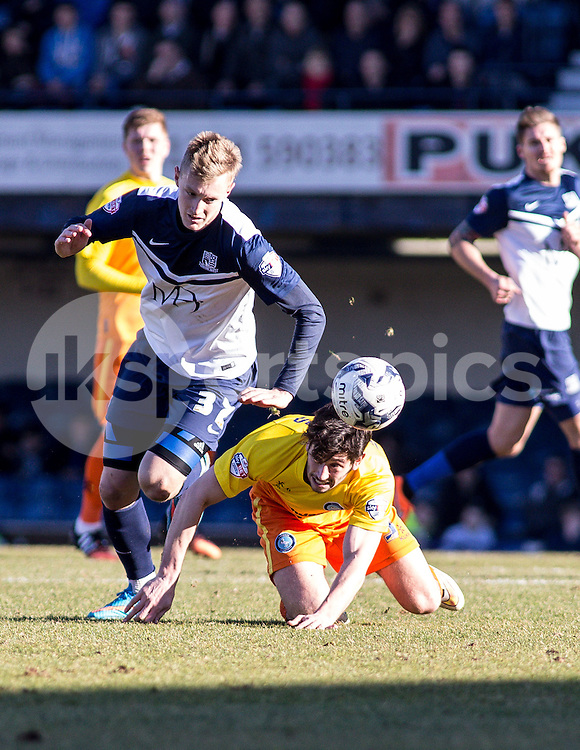 Joe Jacobson of Wycombe Wanderers and Ben Coker of Southend United during the Sky Bet League 2 match between Southend United and Wycombe Wanderers at Roots Hall, Southend, England on 7 March 2015. Photo by Liam McAvoy.