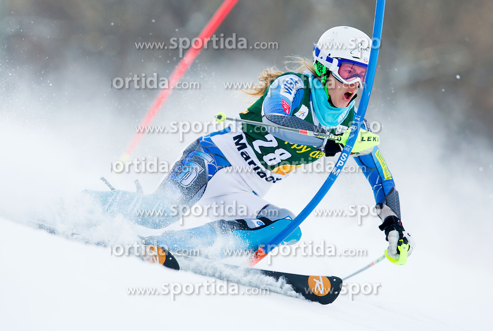 "STIEGLER Resi (USA) competes during 1st Run of FIS Alpine Ski World Cup 7th Ladies' Slalom race named ""49th Golden Fox 2013"", on January 27, 2013 in Mariborsko Pohorje, Maribor, Slovenia. (Photo By Vid Ponikvar / Sportida.com)"