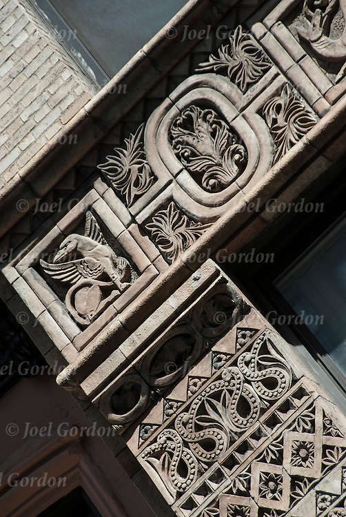 Decorative  patterns repetition of design on nineteen century architectural details on side of building, 49 East 38th Street in New York City.