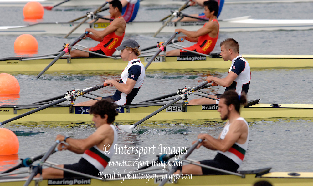 2005 FISA World Cup, Dorney Lake, Eton, ENGLAND, 26.05.05. [Thursday pm] James Stephenson and [stroke] and Ali brown.Photo  Peter Spurrier. .email images@intersport-images...[Mandatory Credit Peter Spurrier/ Intersport Images] , Rowing Courses, Dorney Lake, Eton. ENGLAND